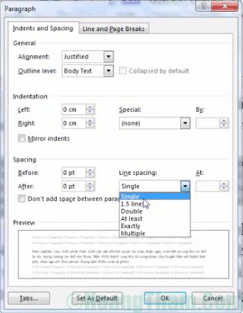 Cách chỉnh khoảng cách dòng trong Word 4