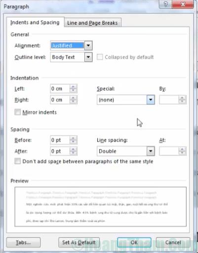 Cách chỉnh khoảng cách dòng trong Word 5