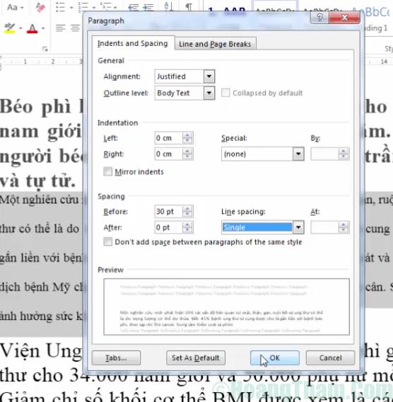 Cách chỉnh khoảng cách dòng trong Word 7