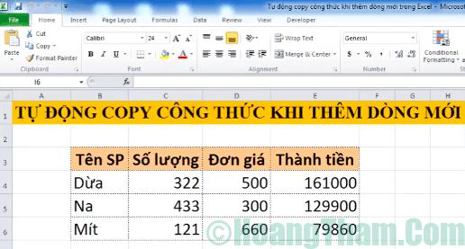Cách copy công thức tự động khi thêm dòng mới trong excel 1