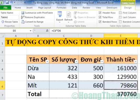 Cách copy công thức tự động khi thêm dòng mới trong excel 7