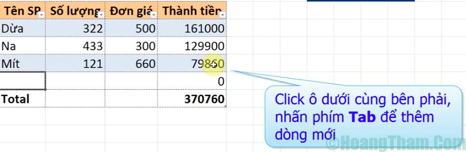 Cách copy công thức tự động khi thêm dòng mới trong excel 8