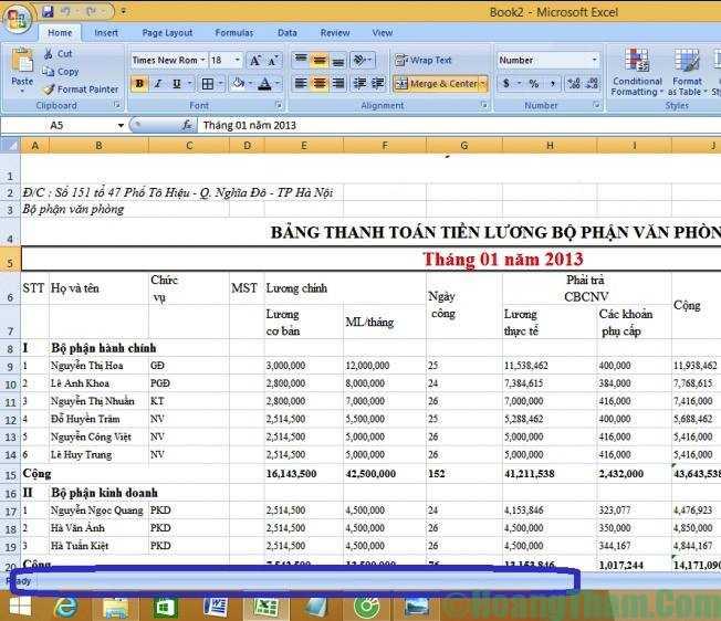 cách hiện thanh công cụ sheet trong excel 2010