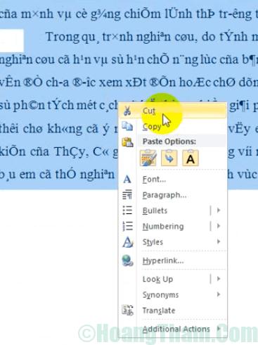 Cách sửa lỗi font chữ trong Word 5