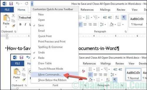 Cách hiển thị tuỳ chọn save và close all trong word 1