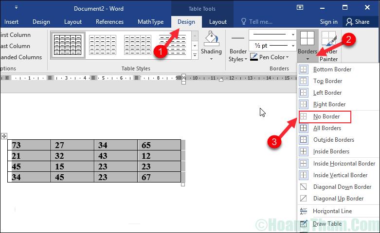 Cách xoá đường kẻ bảng trong Word 3