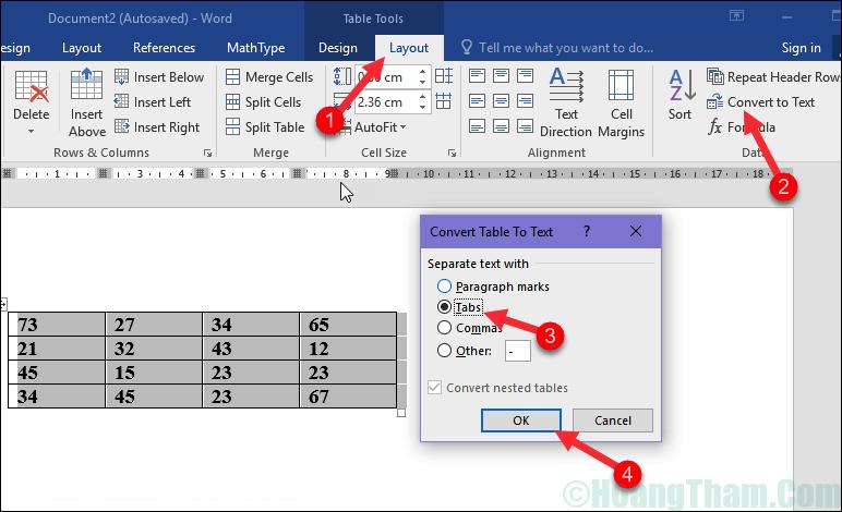 Cách xoá đường kẻ bảng trong Word 5