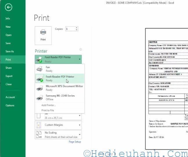 chuyển file excel sang file pdf
