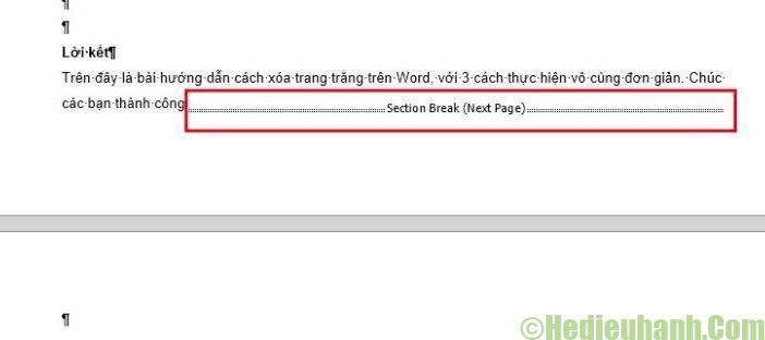 cách xóa section trong word 2010