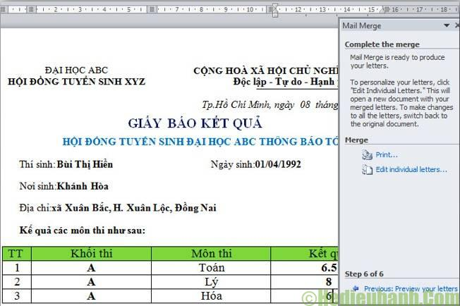 mail merge trong excel